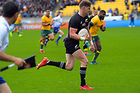 Jordie Barrett runs in the first try during the Bledisloe Cup rugby union match between the New Zealand All Blacks and Australia Wallabies at Sky Stadium in Wellington, New Zealand on Sunday, 11 October 2020. Photo: Dave Lintott / lintottphoto.co.nz