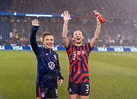 EAST HARTFORD, CT - JULY 1: Kristie Mewis #6 and Samantha Mewis #3 of the USWNT wave to family during a game between Mexico and USWNT at Rentschler Field on July 1, 2021 in East Hartford, Connecticut.