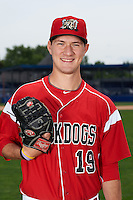 Batavia Muckdogs pitcher Justin Langley (19) poses for a photo on July 8, 2015 at Dwyer Stadium in Batavia, New York.  (Mike Janes/Four Seam Images)