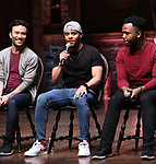 """Marc delaCruz, Terrance Spencer and Deon'te Goodman during the Q & A before The Rockefeller Foundation and The Gilder Lehrman Institute of American History sponsored High School student #EduHam matinee performance of """"Hamilton"""" at the Richard Rodgers Theatre on 5/22/2019 in New York City."""