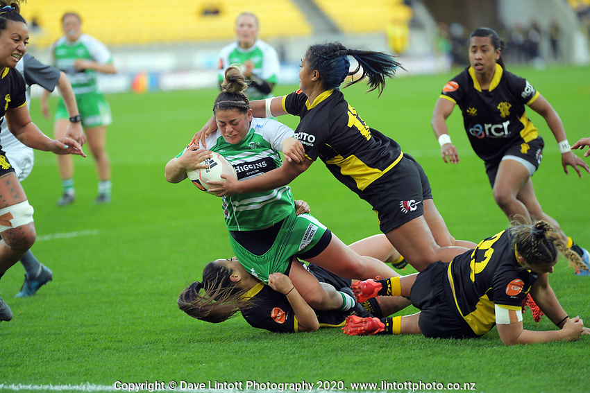 Rebakah Cordero Tufaga is tackled during the Farah Palmer Cup women's rugby match between Wellington Pride and Manawatu Cyclones at Sky Stadium in Wellington, New Zealand on Friday, 25 September 2020. Photo: Dave Lintott / lintottphoto.co.nz