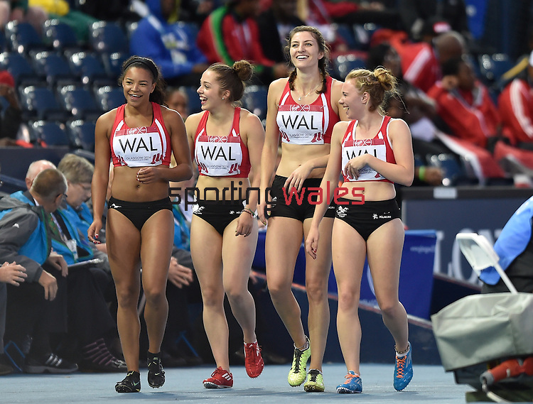 Wales female 4x100m final girls Rachel Johncock, Hannah Brier, Hannah Thomas and Mica Moore do a lap of honour <br /> <br /> Photographer Ian Cook/Sportingwales<br /> <br /> 20th Commonwealth Games - Day 10 - Saturday 2nd August 2014 - Athletics -  Hamden Park - Glasgow - UK