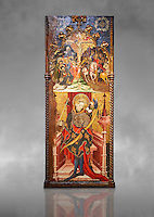 Gothic altarpiece depicting top, Calvary, bottom, St Sebastia (Sebastian) , by Joan Mates of Villafranca de Penedes, circa 1417-1425, from the refrectory of Pia Almoina, Barcelona, Temperal and gold leaf on wood.  National Museum of Catalan Art, Barcelona, Spain, inv no: MNAC  32340. Joan Mates was a Spanish painter of the International Gothic style. Against a grey art background.