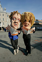 April 13 2005, Montreal (Qc) CANADA<br /> <br /> Parody of Quebec Premier Jean Charest and of Monique Jerome-Forget<br /> Charest Liberal is at it's lowest in the polls.<br /> <br /> .Charest was elected for the first time  April 14 2003, he is seeking a 3rd term in the  Quebec provincial election which will be held Dec 14, 2008.