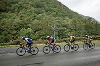Mauri Vansevenant (BEL/Deceuninck - Quick Step) leading the breakaway group<br /> <br /> 84th La Flèche Wallonne 2020 (1.UWT)<br /> 1 day race from Herve to Mur de Huy (202km/BEL)<br /> <br /> ©kramon