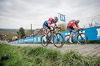 Mathieu Van der Poel (NED/Alpecin-Fenix) & Kasper Asgreen (DEN/Deceuninck - Quick Step) in the last ascent up the Paterberg<br /> <br /> 105th Ronde van Vlaanderen 2021 (MEN1.UWT)<br /> <br /> 1 day race from Antwerp to Oudenaarde (BEL/264km) <br /> <br /> ©kramon