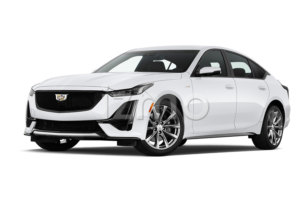 Stock pictures of low aggressive front three quarter view of 2020 Cadillac CT5-V V-Series 4 Door Sedan Low Aggressive