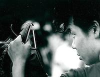 Treffen von Jugendlichen im Retrolook auf der Omote Sando in Tokyo, Japan