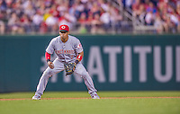 20 May 2014: Cincinnati Reds shortstop Ramon Santiago in action against the Washington Nationals at Nationals Park in Washington, DC. The Nationals defeated the Reds 9-4 to take the second game of their 3-game series. Mandatory Credit: Ed Wolfstein Photo *** RAW (NEF) Image File Available ***