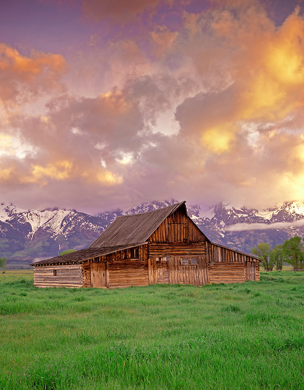 F00005L.tiff  Old barn and pasture with snow covered Teton Mountains. Teton National Park, Wyoming