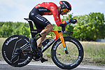 Damiano Caruso (ITA) Bahrain Victorious in action during Stage 21 of the 2021 Giro d'Italia, an individual time trial running 30.3km from Senago to Milan, Italy. 30th May 2021.  <br /> Picture: LaPresse/Fabio Ferrari   Cyclefile<br /> <br /> All photos usage must carry mandatory copyright credit (© Cyclefile   LaPresse/Fabio Ferrari)