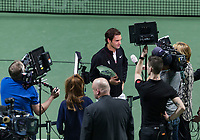 Rotterdam, The Netherlands, 18 Februari, 2018, ABNAMRO World Tennis Tournament, Ahoy, Singles final, Roger Federer (SUI) speaks to the TV stations on the court<br /> <br /> Photo: www.tennisimages.com