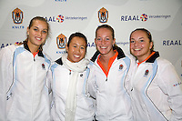 29-1-09, Almere, Training Fedcup team, REAAL Fedcupteam, v.l.n.r.: Arantxa Rus, Pauline Wong, Michelle Gerards en Nicole Thyssen