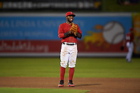 Inland Empire 66ers shortstop Luis Rengifo (3) during a California League game against the Lancaster JetHawks at San Manuel Stadium on May 18, 2018 in San Bernardino, California. Lancaster defeated Inland Empire 5-3. (Zachary Lucy/Four Seam Images)
