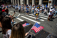 NEW YORK, NEW YORK - JULY 7: Hundreds of police, firefighters, hospitals and other first aid workers participate in a parade of ticker tapes to honor workers who helped in New York during the Covid-19 pandemic on 7 July 2021 in New York City. Healthcare workers, first responders and essential workers are honored at the Canyon of Heroes in Manhattan for their service during the COVID-19 pandemic. (Photo by Pablo Monsalve / VIEWpress via Getty Images)