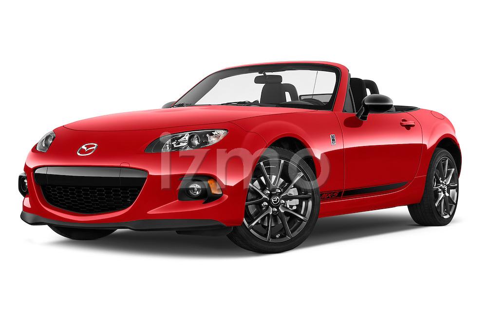 Stock pictures of low aggressive front three quarter view of a 2015 Mazda MX-5 Miata Club Auto 2 Door Convertible Low Aggressive