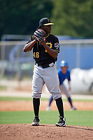 Pittsburgh Pirates relief pitcher Deivy Mendez (46) gets ready to deliver a pitch during a Florida Instructional League game against the Toronto Blue Jays on September 20, 2018 at the Englebert Complex in Dunedin, Florida.  (Mike Janes/Four Seam Images)