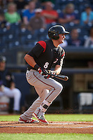 Richmond Flying Squirrels first baseman Ryder Jones (8) at bat during a game against the Akron RubberDucks on July 26, 2016 at Canal Park in Akron, Ohio .  Richmond defeated Akron 10-4.  (Mike Janes/Four Seam Images)