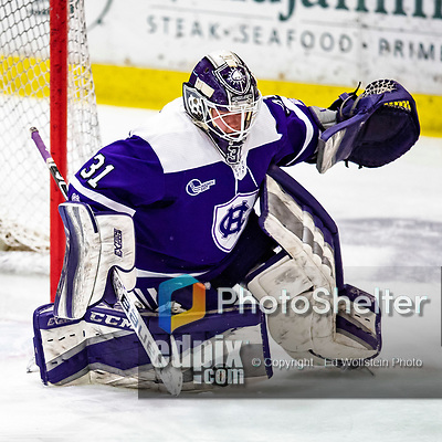 2 February 2020: Holy Cross Crusader Goaltender Jada Brenon, a Sophomore from Pendleton, NY, makes an Overtime save against the University of Vermont Catamounts at Gutterson Fieldhouse in Burlington, Vermont. Brenon made 51 saves in the game, keeping the Crusaders in the lead for almost the entire game. However, the Lady Cats rallied in the 3rd period to tie the Crusaders 2-2 in NCAA Women's Hockey East play. Mandatory Credit: Ed Wolfstein Photo *** RAW (NEF) Image File Available ***