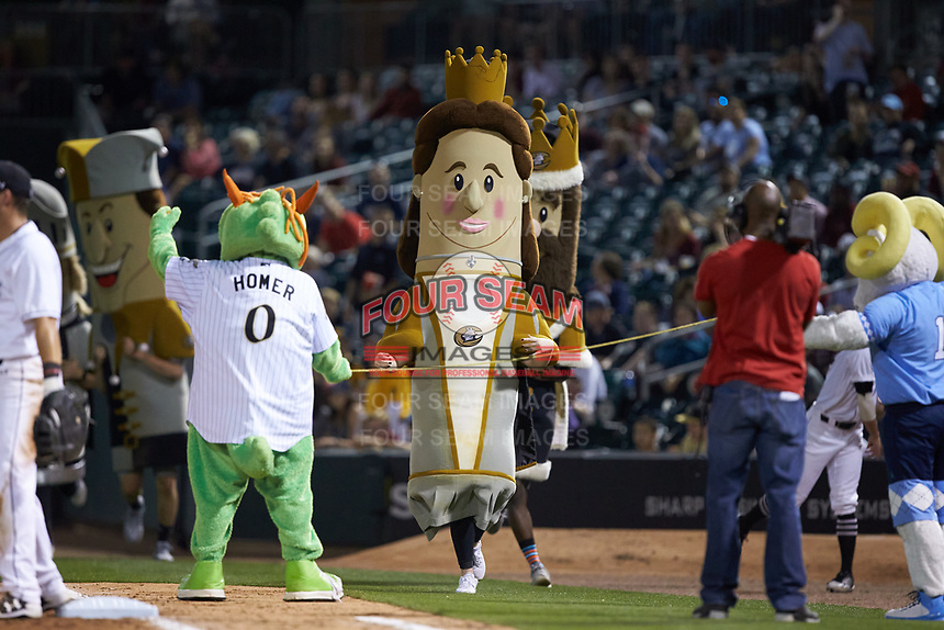 "Queen Charlotte wins the ""Royalty Race"" between innings of the game between the North Carolina Tar Heels and the South Carolina Gamecocks at BB&T BallPark on April 3, 2018 in Charlotte, North Carolina. The Tar Heels defeated the Gamecocks 11-3. (Brian Westerholt/Four Seam Images)"