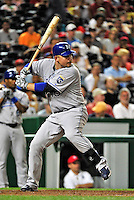 21 June 2010: Kansas City Royals first baseman Billy Butler in action against the Washington Nationals at Nationals Park in Washington, DC. The Nationals edged out the Royals 2-1 to take the first game of their 3-game interleague series and snap a 6-game losing streak. Mandatory Credit: Ed Wolfstein Photo