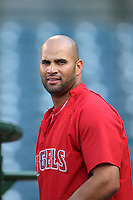 Albert Pujols #5 of the Los Angeles Angels before a game against the Texas Rangers at Angel Stadium on June 2, 2012 in Anaheim,California. Los Angeles defeated Texas 3-2.(Larry Goren/Four Seam Images)