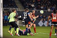 Kansas City, Kansas - Saturday April 16, 2016: FC Kansas City defender Brittany Taylor (13) clears the ball against Western New York Flash at Children's Mercy Park. Western New York won 1-0.