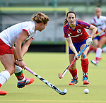 Mannheim, Germany, April 18: During the 1. Bundesliga Damen match between TSV Mannheim (white) and Mannheimer HC (red) on April 18, 2015 at TSV Mannheim in Mannheim, Germany. Final score 1-7 (1-4). (Photo by Dirk Markgraf / www.265-images.com) *** Local caption *** Maxi Pohl #6 of Mannheimer HC