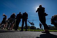 Marine One, with United States President Donald J. Trump aboard, departs the South Lawn of the White House on Thursday, October 15, 2020. Trump will deliver remarks at a Fundraising Committee Reception in Doral, FL<br /> and participate in a Live NBC News Town Hall Event.    <br /> Credit: Ken Cedeno / Pool via CNP /MediaPunch