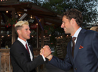 Austria, Kitzbuhel, Juli 15, 2015, Tennis, Davis Cup, Dutch team arriving at official  dinner, pictured: Robin Haase greets Thiem<br /> Photo: Tennisimages/Henk Koster
