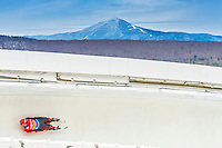 5 December 2014: Felix Loch, sliding for Germany, slides through Curve Number 14 on his first run, ending the day with a 6th place finish and a combined 2-run time of 1:43.312 in the Men's Competition at the Viessmann Luge World Cup, at the Olympic Sports Track in Lake Placid, New York, USA. Mandatory Credit: Ed Wolfstein Photo *** RAW (NEF) Image File Available ***