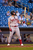 Great Lakes Loons Brandon Lewis (16) bats during a game against the Great Lakes Loons on August 28, 2021 at Classic Park in Eastlake, Ohio.  (Mike Janes/Four Seam Images)