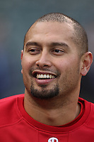 SAN FRANCISCO - APRIL 26:  Shane Victorino #8 of the Philadelphia Phillies takes batting practice before the game against the San Francisco Giants at AT&T Park on April 26, 2010 in San Francisco, California. Photo by Brad Mangin