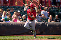 Harrisburg Senators Jake Alu (5) scores a run during a game against the Erie Seawolves on September 5, 2021 at UPMC Park in Erie, Pennsylvania.  (Mike Janes/Four Seam Images)