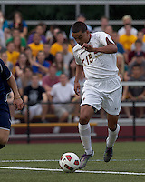 Boston College forward/midfielder Diego Medina-Mendez (15) on the attack. Boston College defeated Quinnipiac, 5-0, at Newton Soccer Field, September 1, 2011.
