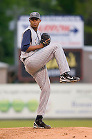 Starting pitcher Kelvin De La Cruz (45) of the Lake County Captains in action versus the Kannapolis Intimidators at Fieldcrest Cannon Stadium in Kannapolis, NC, Saturday, April 26, 2008.