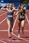 13 JUNE 2015: Rhianwedd Price of Mississippi State celebrates as she crosses the finish line to win the NCAA Championship in the Women's 1500 meters during the Division I Men's and Women's Outdoor Track & Field Championship held at Hayward Field in Eugene, OR. Price won the race in a time of 4:09.56. Steve Dykes/ NCAA Photos