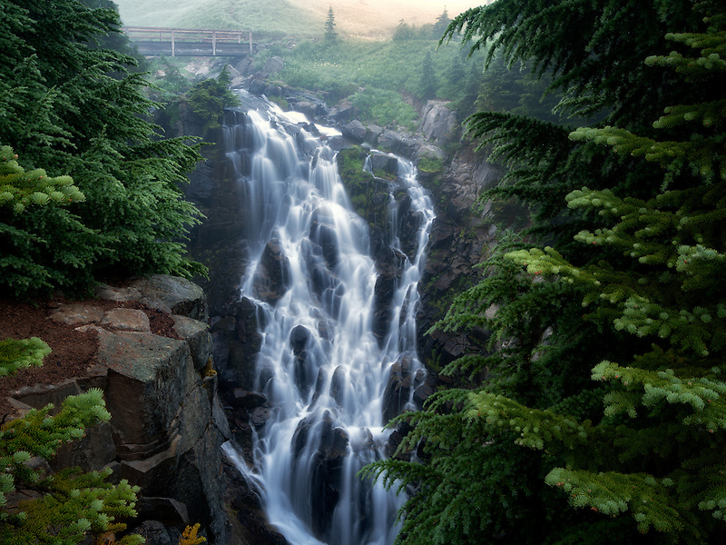 Myrtle Falls and fog. Mt. Rainier National Park, Washington