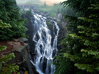 Myrtle Falls and fog. Mt. Rainier National Park, Washington