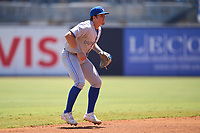 Dunedin Blue Jays shortstop Addison Barger (22) during a game against the Tampa Tarpons on May 9, 2021 at George M. Steinbrenner Field in Tampa, Florida.  (Mike Janes/Four Seam Images)