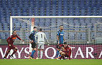 Football, Serie A: AS Roma -  FC Internazionale Milano, Olympic stadium, Rome, January 10, 2021. <br /> Roma's Gianluca Mancini (front right) celebrates after scoring during the Italian Serie A football match between Roma and Inter at Rome's Olympic stadium, on January 10, 2021.  <br /> UPDATE IMAGES PRESS/Isabella Bonotto