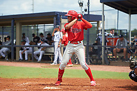 GCL Phillies East Jose Cedeno (16) bats during a Gulf Coast League game against the GCL Yankees East on July 31, 2019 at Yankees Minor League Complex in Tampa, Florida.  GCL Phillies East defeated the GCL Yankees East 4-3 in the second game of a doubleheader.  (Mike Janes/Four Seam Images)