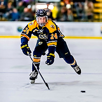26 January 2019: Merrimack College Warrior Forward Christian Simeone, a Freshman from Milton, MA, in first period action against the University of Vermont Catamounts at Gutterson Fieldhouse in Burlington, Vermont. The Warriors fell to the Catamounts 4-3 in overtime after tying up the game in the dyeing seconds of the third period of their America East conference game. Mandatory Credit: Ed Wolfstein Photo *** RAW (NEF) Image File Available ***
