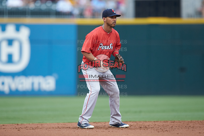 Pawtucket Red Sox shortstop Ivan De Jesus Jr. (13) on defense against the Charlotte Knights at BB&T BallPark on July 19, 2018 in Charlotte, North Carolina. The Knights defeated the Red Sox 4-3.  (Brian Westerholt/Four Seam Images)