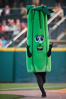 Buffalo Bisons mascot Celery in a race during a game against the Syracuse Chiefs on July 3, 2017 at Coca-Cola Field in Buffalo, New York.  Buffalo defeated Syracuse 6-2.  (Mike Janes/Four Seam Images)