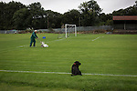 Vale of Leven 3 Ashfield 4, 03/09/2016. Millburn Park, West of Scotland League Central District Second Division. Committee member Angus Wallace marking the pitch at Millburn Park, Alexandria, before Vale of Leven hosted Ashfield in a West of Scotland League Central District Second Division Junior fixture. Vale of Leven were one of the founder members of the Scottish League in 1890 and remained part of the SFA and League structure until 1929 when the original club folded, only to be resurrected as a member of the Scottish Junior Football Association after World War II. They lost the match to Ashfield by 4-3, having led 3-1 with 10 minutes remaining. Photo by Colin McPherson.