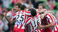 MELBOURNE, AUSTRALIA - DECEMBER 11: Heart players celebrate Gerald Sibon's goal during the round 18 A-League match between the Melbourne Heart and Melbourne Victory at AAMI Park on December 11, 2010 in Melbourne, Australia. (Photo by Sydney Low / Asterisk Images)