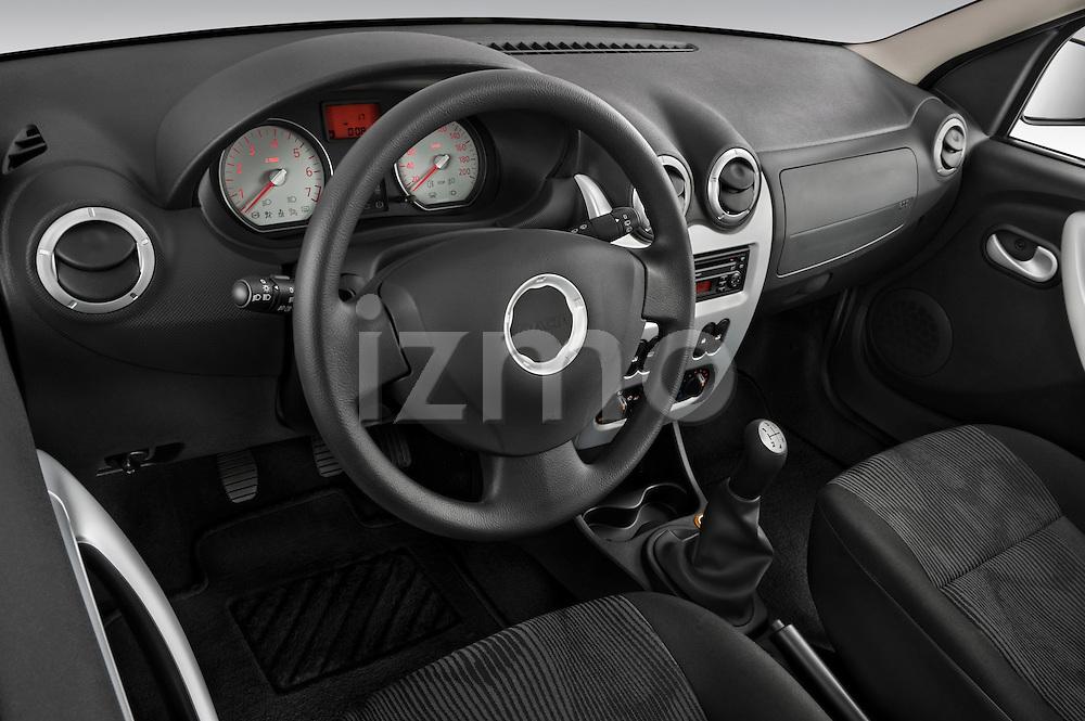 High angle dashboard view of a 2009 Dacia Logan Laureate Minivan