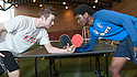 The gloves are off as Sun Sport reporter Kenny Millar faces up to Rangers' Junior Ogen prior to their Table Tennis Challenge Match.