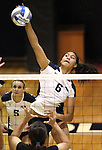 Nevada freshman middle hitter Tessa Lea'ea goes up for one of her 12 kills against Seattle University during NCAA women's college volleyball in Reno, Nev., on Thursday, Oct. 20, 2011. Nevada won 29-27, 25-20 and 26-24. .Photo by Cathleen Allison
